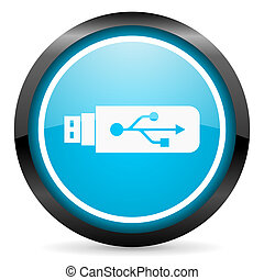 usb blue glossy circle icon on white background