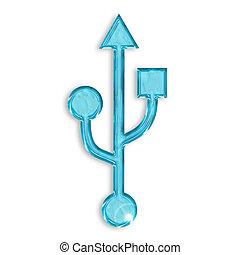 usb blue icon isolated on white background