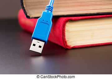 Usb cable and books