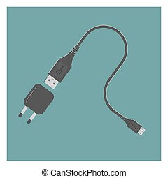 USB Cable and Power Adapter. EPS 10, opacity