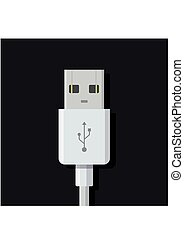 USB cable connector cord on dark background in flat style