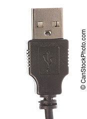 USB Cable Connector Macro - Isolated macro image of a USB...