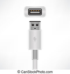 USB type A plug & socket (part of the Computer Hardware Icons Set)