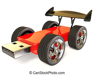 usb car - red flash car on white background