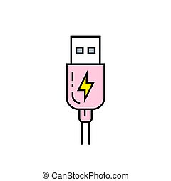 USB charge line icon