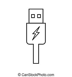 usb charging plug icon on white background - usb charging...