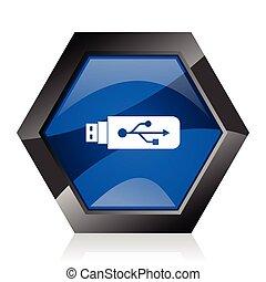 Usb dark blue glossy hexagon geometric diamond vector web icon with reflection on white background. Modern design hexagonal internet button.