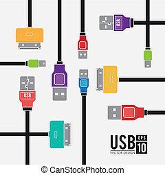 USB design over white background, vector illustration