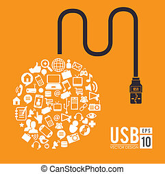 USB design over yellow background, vector illustration