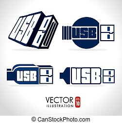 USB design, vector illustration. - USB design over white...