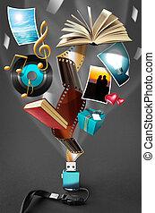 USB Drive - Conceptual image of a tiny USB drive where a...