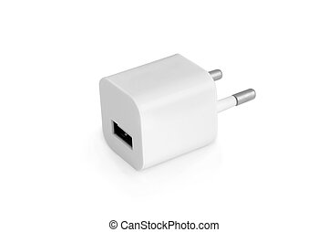 Usb electric charger plug isolated on a white background
