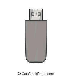 Usb flash drive icon, black monochrome style