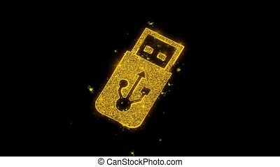 USB Flash Drive Icon Sparks Particles on Black Background. -...