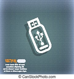 Usb flash drive icon symbol on the blue-green abstract background with shadow and space for your text. Vector