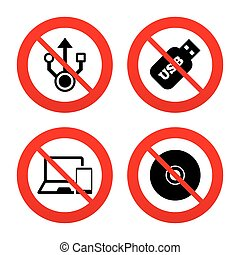 Usb flash drive icons. Notebook or Laptop pc. - No, Ban or...