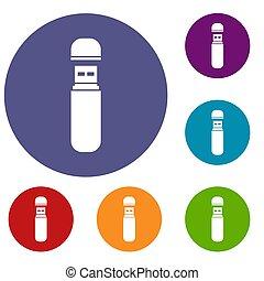 USB flash drive icons set