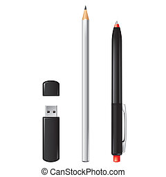 Usb flash drive, pencil and pen isolated - Usb flash drive...