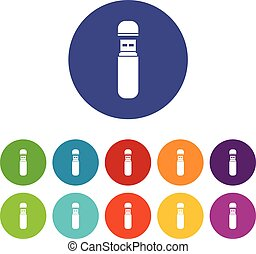 USB flash drive set icons