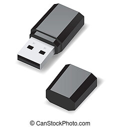 USB flash drive. - Black USB flash drive with cap isolated...