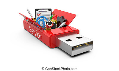 USB Flash drive with office tools and money. business concept