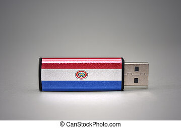 usb flash drive with the national flag of paraguay on gray background.