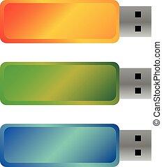 USB flash drives, colored portable data storage.