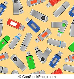 USB flash drives - seamless pattern