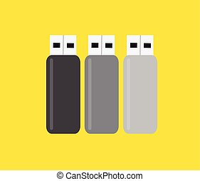 USB Flash Drives Set Vector