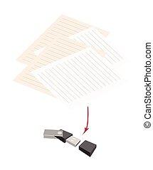 usb, flash, em branco, caneta, papel, memória
