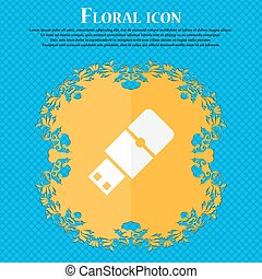 USB flash icon. Floral flat design on a blue abstract background with place for your text. Vector