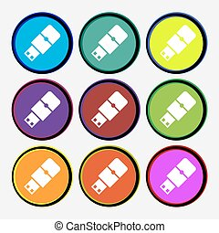 USB flash icon sign. Nine multi colored round buttons. Vector