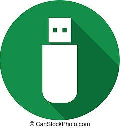 usb flash memory flat icon