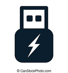 usb flash power charge icon
