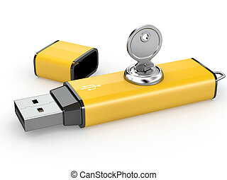 usb, flash, security., key., mémoire, données, 3d