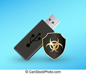 usb flashdrive with a protection shield antivirus computer