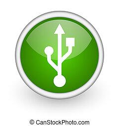 usb green circle glossy web icon on white background
