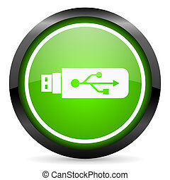 usb green glossy icon on white background