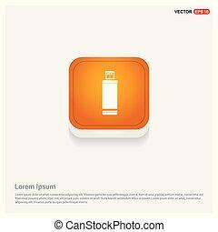 USB icon Orange Abstract Web Button