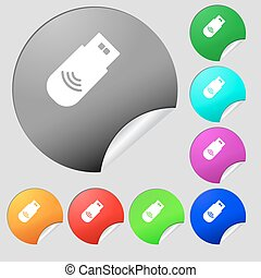 usb Icon sign. Set of eight multi colored round buttons, stickers. Vector