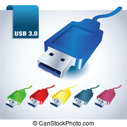 usb icon - USB port cable connections