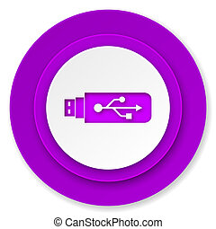 usb icon, violet button, flash memory sign
