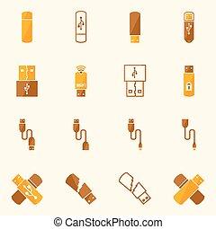 USB icons flat yellow vector set