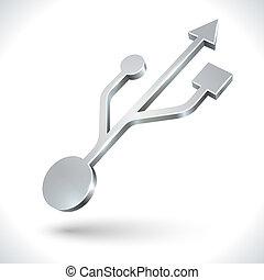 Usb, isolé, métallique, fond, blanc,  3D, icône