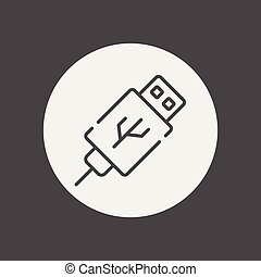 usb kabel, symbol, zeichen, vektor, ikone