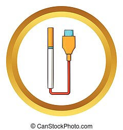 usb kabel, zigarette, vektor, elektronisch, ikone