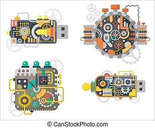usb, klok, cogs, steampunk, flits, besturen, horloges, gezicht, isolated., vector, toestellen, ouderwetse