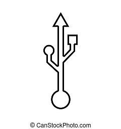 Usb line icon