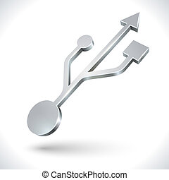 USB metallic 3D icon isolated on white background.