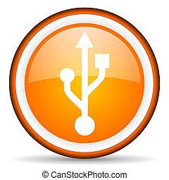 usb orange glossy icon on white background